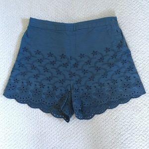 High waisted eyelet blue shorts